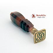 Vintage Wax Seal Seal Agate Handle Brass Monogram CC 1900