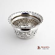 Ornate Repousse Salt Dish Sterling Silver Pie Crust Rim London 1895