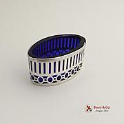 Oval Open Salt Dish Cobalt Blue Glass Sterling Silver Gorham Silversmiths 1940