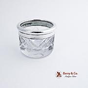 Open Salt Dish Cut Crystal Sterling Silver 1900