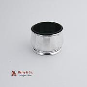 Open Salt Dish Sterling Silver Green Glass Liner 1940