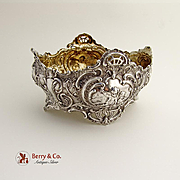 Ornate Baroque Serving Bowl Cherub Rose Scroll Shell Decorations 800 Silver 1900