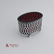 Ornate Open Master Salt Dish Sterling Silver Cranberry Glass Liner 1900