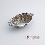 Ornate Oval Open salt Dish Sterling Silver Chester 1897