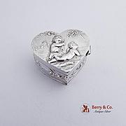 Ornate Heart Form Pill Box 800 Silver 1890