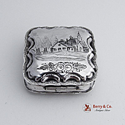 Antique Peppermint Box Architectural Engraved 833 Silver 1875