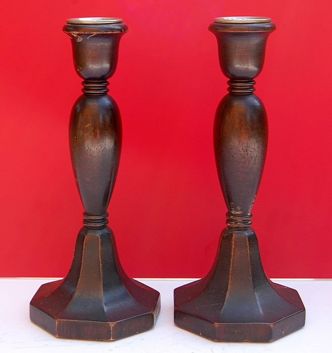 Great Pair Vintage Wooden Candlesticks.