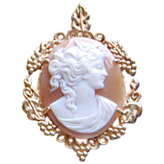 Vintage 14K Gold Oval Shell Cameo Pendant