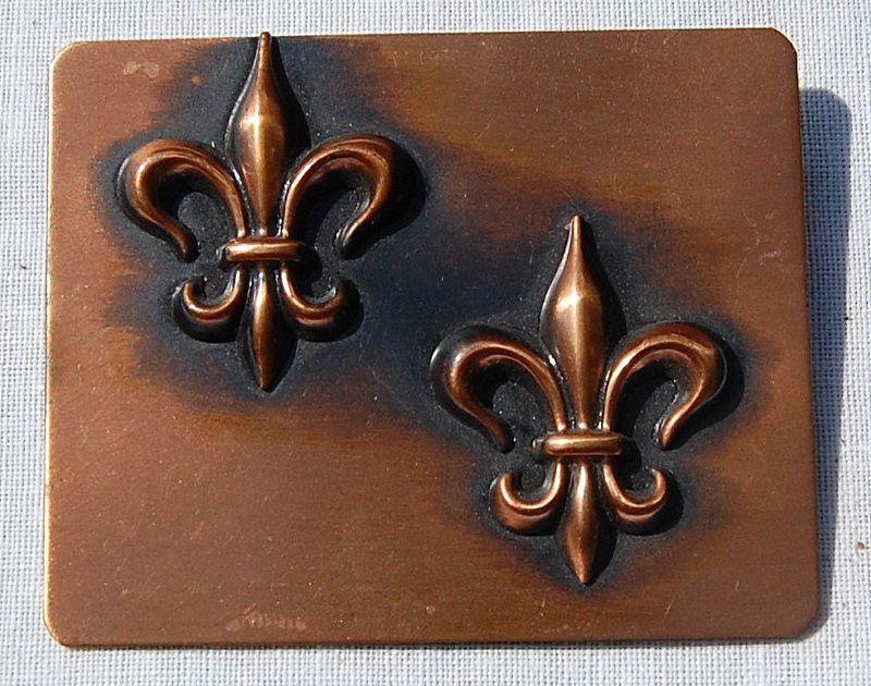 Signed Rebajes Modernist Copper Fleur d Lis Brooch/Pin