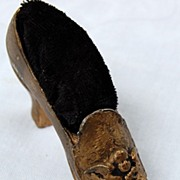 REDUCED Victorian Figural Shoe Pin Cushion With Cherub