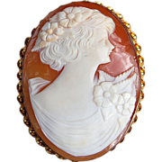 REDUCED Vintage Hand Carved Shell Gold Filled Cameo Brooch