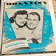 """REDUCED 1959 Sheet Music """"Mona Lisa"""" From """"Captain Carey, U.S.A."""""""