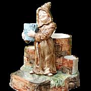 Jolly Monk Antique Majolica Figural Match Striker/Safe/Smoke Set