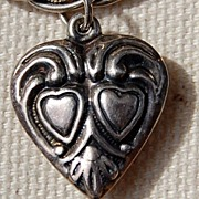 REDUCED 1940's Sterling Silver Puffy Heart Charm