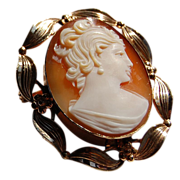 REDUCED Vintage Gold Filled Stone Cameo Brooch/Pendant