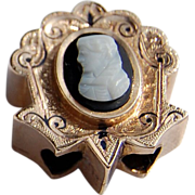 REDUCED Large Victorian Gold Filled Enamel Cameo Slide