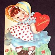 Vintage 1940's American Greeting Valentine Card Granddaughter
