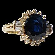 REDUCED Vintage 14 K Gold  4.56 Ct. Sapphire & Diamond Ring