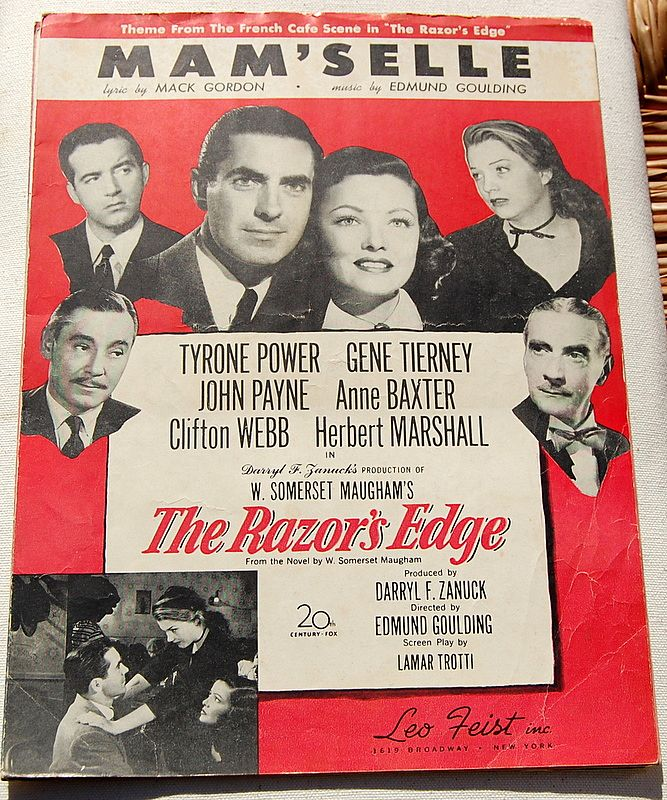 1947 Vintage Sheet Music Mam'Selle From The Razor's Edge
