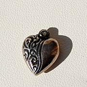 Dainty Vintage  Sterling Silver Puffy Heart Charm