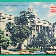 Vintage Jackson Mississippi Old State Capitol Postcard
