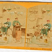 SALE 1870's In The Workshop Stereophotography Stereograph Series I - No. 1646