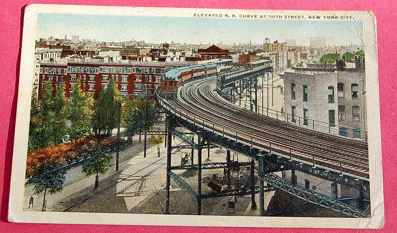 World War 1 Solder's Post Card 110th Street Railway Curve New York