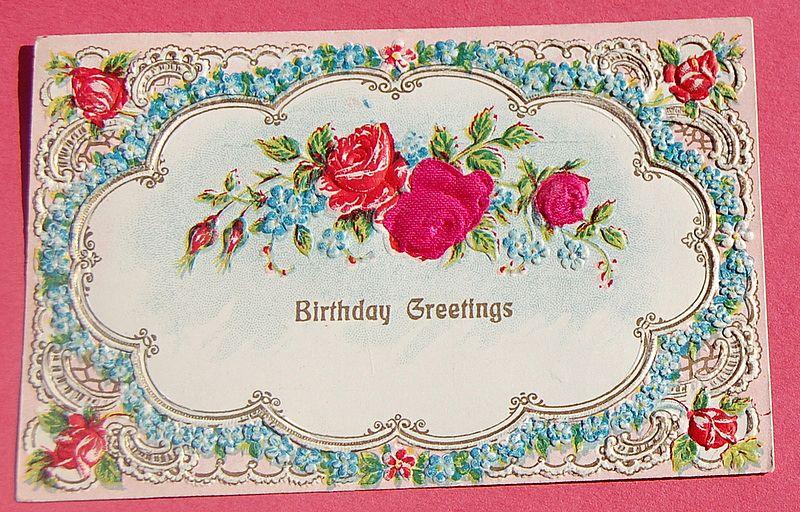 Vintage Embossed  Austrian Birthday Greetings Post Card Red Roses