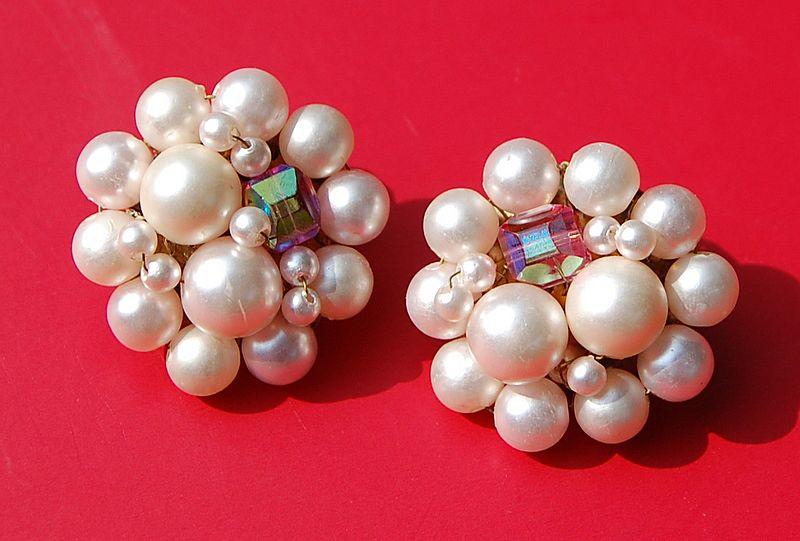 Vintage Faux Pearl Cluster Clip Earrings