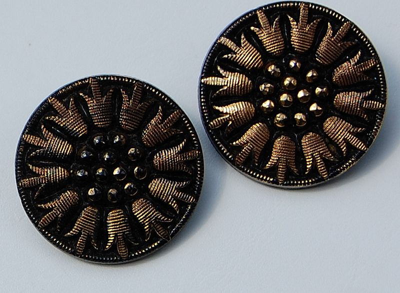 Vintage Black & Gold Glass Large Button Earrings