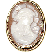 Vintage Religious  Gold Filled Shell Cameo Brooch/Pendant