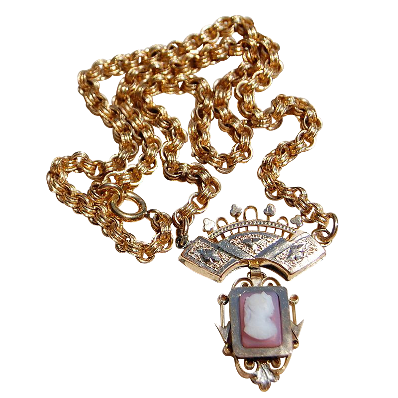Victorian Gold Filled Cameo Necklace