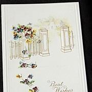Vintage Embossed Best Wishes Postcard