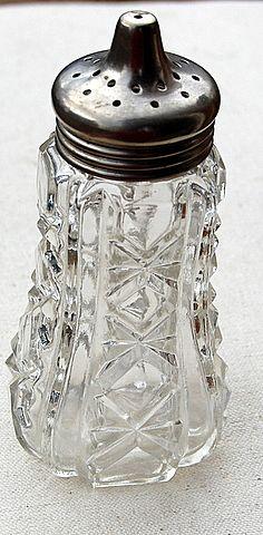 Vintage Pressed Glass Silver Plate Muffineer/Sugar Shaker