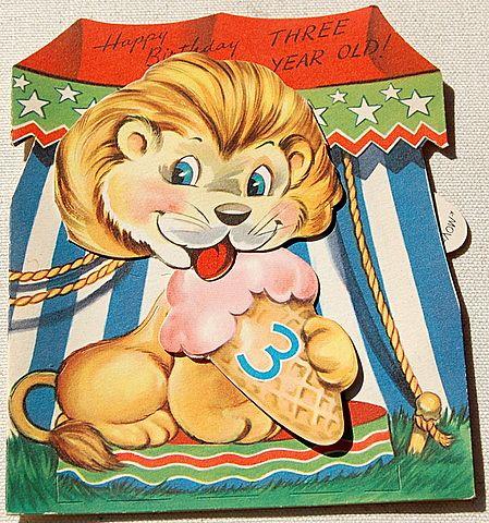 Vintage Mechanical Toy Happy Birthday Three Year Old Card