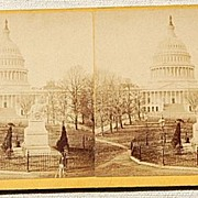 Bell & Bros. 1871 Stereophotography Stereoview Statue of Washington & The U. S. Capitol
