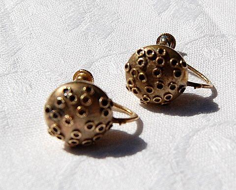 German Etruscan Revival  Screw Back Earrings