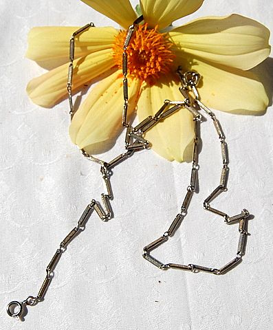 Victorian Two Tone Metal Sautoir Muff Lorgnette Guard Chain Watch Chain