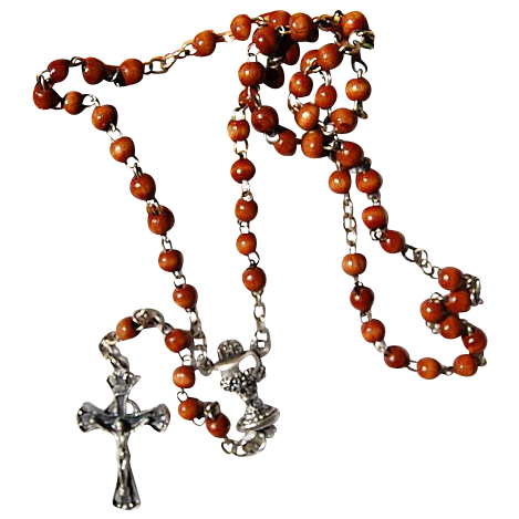 Vintage Chapel Wooden First Communion Rosary
