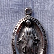 Vintage Sterling Silver Immaculate Conception Medal Charm