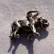 Vintage Sterling Silver Cougar Charm Pendant