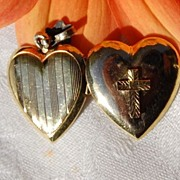 Vintage 12K Gold Filled Puffy Heart Locket 14K Cross
