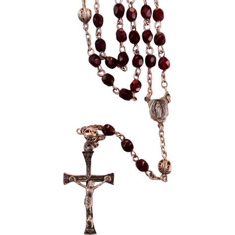 Dainty Vintage Filigree Sterling Silver Ruby Red Rosary