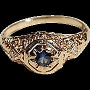 REDUCED Art Deco 14K Gold Filigree Sapphire & Diamond Ring