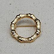 SOLD Vintage Gold Tone Bamboo Circle Brooch/Pin