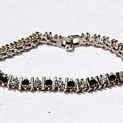 Vintage Silver Tone Metal Black & Clear Rhinestone Flexible Bracelet