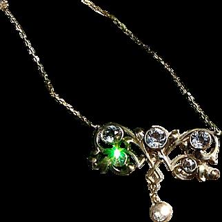 Art Nouveau French Paste Pendant Necklace