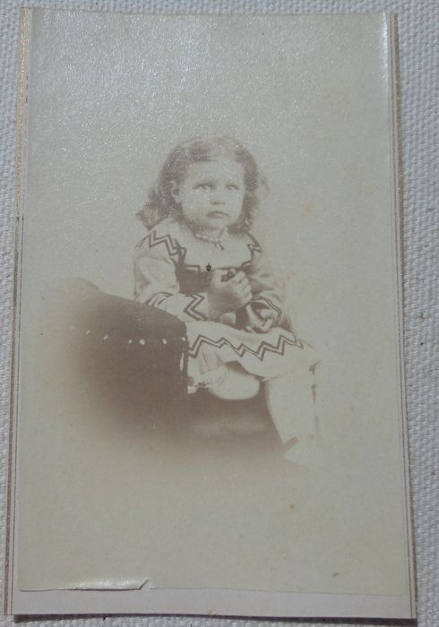 Antique Victorian Cabinet Card Full Figure Photo Little Girl