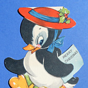 Vintage Gibson Penguin Christmas Card