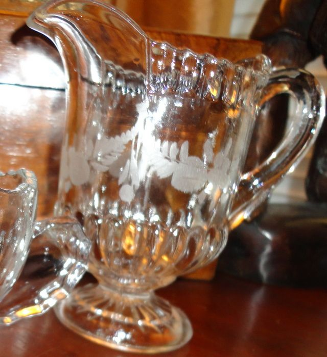 Vintage Etched Glass Pitcher Creamer